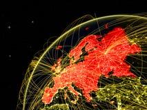 Европа на темном глобусе в космосе бесплатная иллюстрация