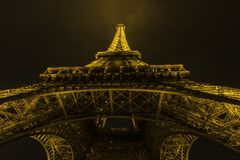 Европа Париж сентябрь 2017 башня ночи eiffel Стоковое фото RF