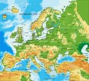 Европа - физическая карта иллюстрация штока