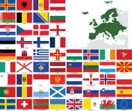 европа flags вектор карт Стоковые Фотографии RF