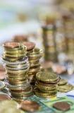 Европейская валюта (банкноты и монетки) Стоковые Изображения RF