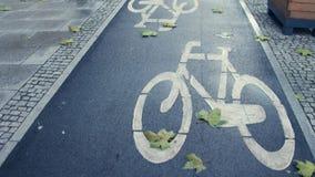 Европейская городская дорога велосипеда в съемке steadicam осени 4K Экологический доступный транспорт города акции видеоматериалы