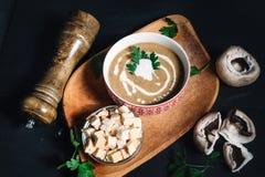 европейская еда Суп гриба с петрушкой и сметаной Стоковые Изображения RF