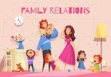 Европейская иллюстрация семьи иллюстрация штока