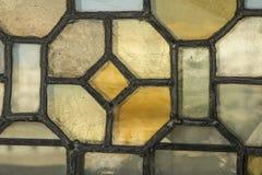 Европейская специализированная часть окна показа перемещения старой церков с римским Стоковое Изображение