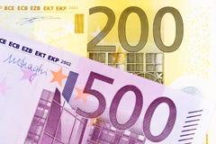 Европейские банкноты большого количества Стоковые Изображения RF