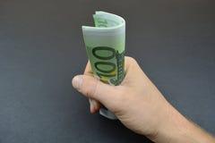 Европейские банкноты в руке Стоковая Фотография
