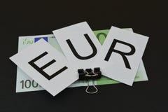Европейские банкноты с ` EUR ` знака Стоковая Фотография RF