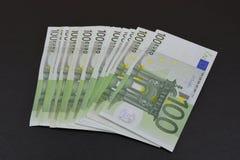 Европейские деньги на черной предпосылке Стоковое Изображение