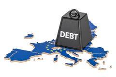 Европейские задолженность или бюджетный дефицит, концепция финансового кризиса, re 3D Стоковые Изображения RF