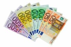 европейские изолированные деньги над белизной стоковое фото