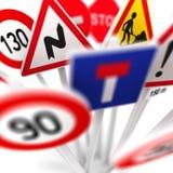 Европейские дорожные знаки Стоковые Изображения RF