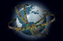 европейские рынки глобуса двигая по орбите тиккеры штока Стоковая Фотография RF