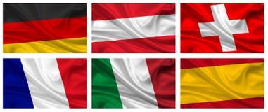 европейские установленные флаги Стоковая Фотография