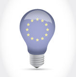 Европейский дизайн иллюстрации электрической лампочки идеи флага Стоковое Изображение RF