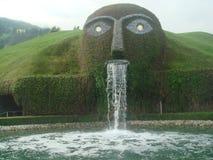 Европейский искусственный водопад cum вид на сад стоковые фото