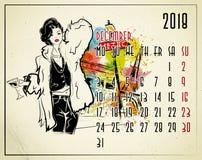 Европейский календарь с девушкой моды в стиле эскиза бесплатная иллюстрация