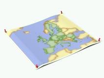 европейский лист карты раскрыл соединение Стоковые Изображения RF