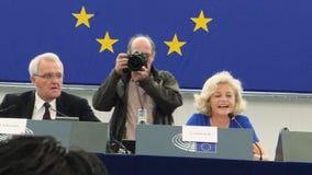 Европейский парламент в трибуне модераторов дней открытых дверей страсбурга сток-видео