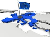 Европейский союз на карте Стоковое Изображение