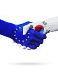 Европейский союз флагов, страны Южной Кореи, концепция рукопожатия приятельства партнерства Стоковое фото RF