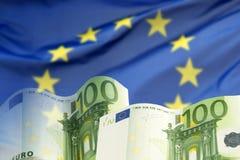 Европейский флаг с банкнотами евро Стоковые Изображения RF