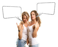 2 европейских женщины с пузырем речи Стоковые Изображения RF