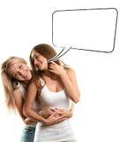 2 европейских женщины с пузырем речи Стоковое Изображение RF