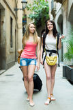 2 европейских путешественника возглавляя с багажем Стоковое Изображение