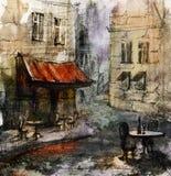 Европейское кафе, графический чертеж в цвете иллюстрация штока