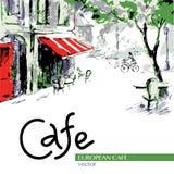 Европейское кафе, графический чертеж в цвете бесплатная иллюстрация