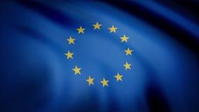 европейское соединение флага Красивый европейский флаг Флаг Европы развевая на ветре в медленном, петле Безшовная петля - флаг иллюстрация вектора