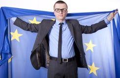 европейское соединение человека удерживания флага Стоковое Фото