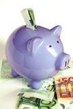 евро банка замечает piggy Стоковое фото RF