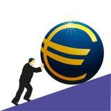 евро бизнесмена нажимая символ Стоковые Фото