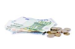 евро валюты монеток счетов различное Стоковое фото RF