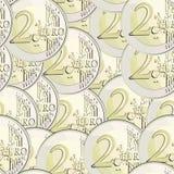 евро валюты 2 монеток безшовное Стоковые Фото