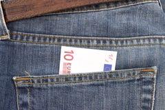 Евро в карманн Стоковая Фотография