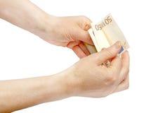 Евро в руке Стоковая Фотография RF