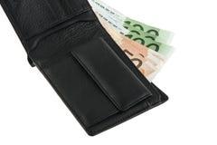 Евро в черном портмоне Стоковое Фото