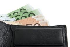 Евро в черном портмоне Стоковая Фотография RF