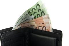 Евро в черном портмоне Стоковые Фотографии RF