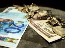 евро горят в огне стоковое фото rf