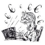 Евро дела онлайн черно-белое Бесплатная Иллюстрация