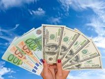 евро доллара кредиток Стоковые Фотографии RF