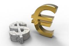 евро доллара против Стоковое Фото