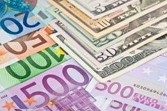 евро доллара против Стоковое Изображение