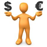 евро доллара против иллюстрация штока