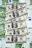 евро доллара против Стоковое Изображение RF