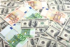 евро долларов предпосылки Стоковые Изображения